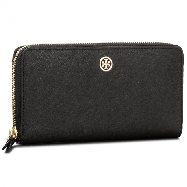 bd914299349 Large Women's Wallet TORY BURCH. Robinson Zip Continental Wallet 45254 Black/Navy  018