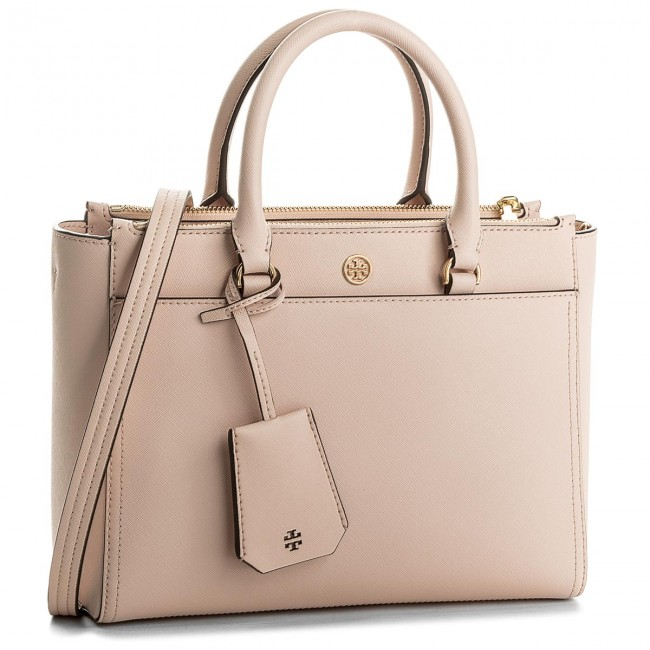 2cd43e66c04b59 Handbag TORY BURCH - Robinson Small Double-Zip Tote 46331 Pale Apricot Royal  Navy