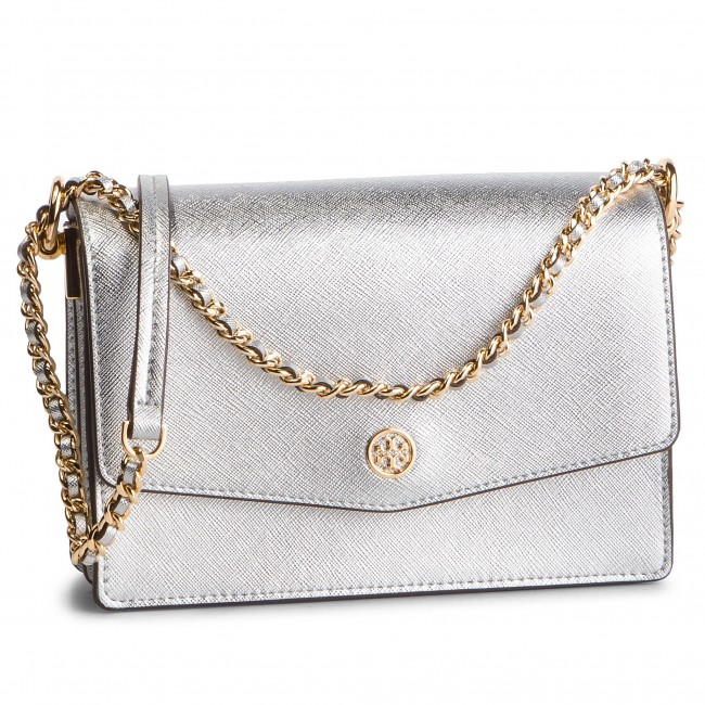 f2232db3355 Handbag TORY BURCH - Robinson Metallic Mini Shoulder Bag 52748 Silver 040