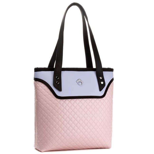 53aea4369956d Handbag GOSHICO - Flowerbag 3342 Różowo-Niebieska Pikowana - Canvas ...