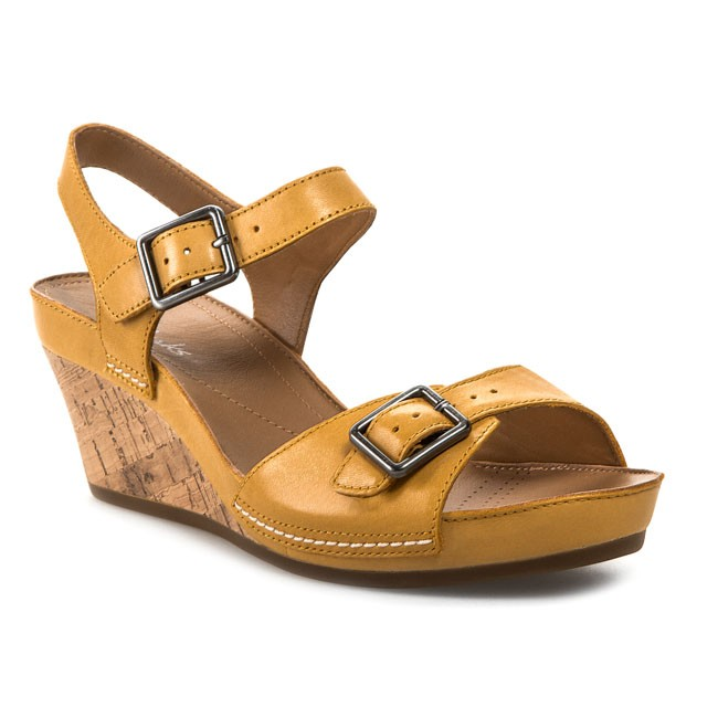 f0f9db52cfb Sandals CLARKS - Rusty Art 203590544 Yellow Leather - Wedges - Mules ...