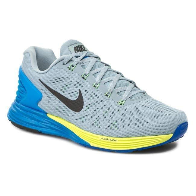 Shoes NIKE. Lunarglide 6 654433 005 Light Magnet Grey/ Black/ Photo Blue/  Volt
