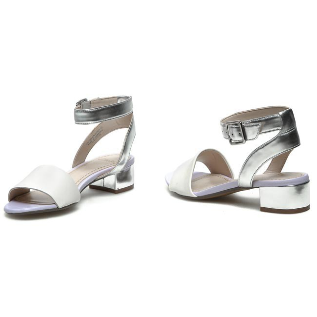 72d714555aa0 Sandals CLARKS - Sharna Balcony 203581004 White Silver - Casual ...