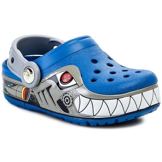 Slides CROCS - Crocslights Robo Shark Clog Ps 15362 Sea Blue Silver ... 26b76c175c