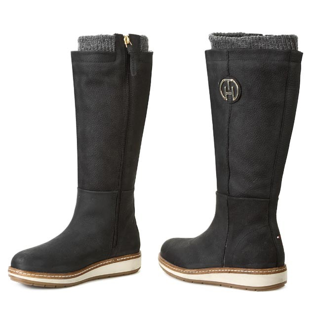 Knee High Boots TOMMY HILFIGER - Wooli 1NW FW56817667 Black 990 - Jackboots  - High boots and others - Women s shoes - www.efootwear.eu 55398b5a423