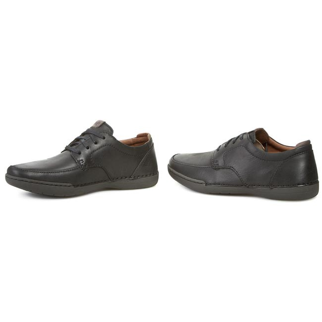 Clarks Mens Casual Rutland Apron Leather Shoes In Black