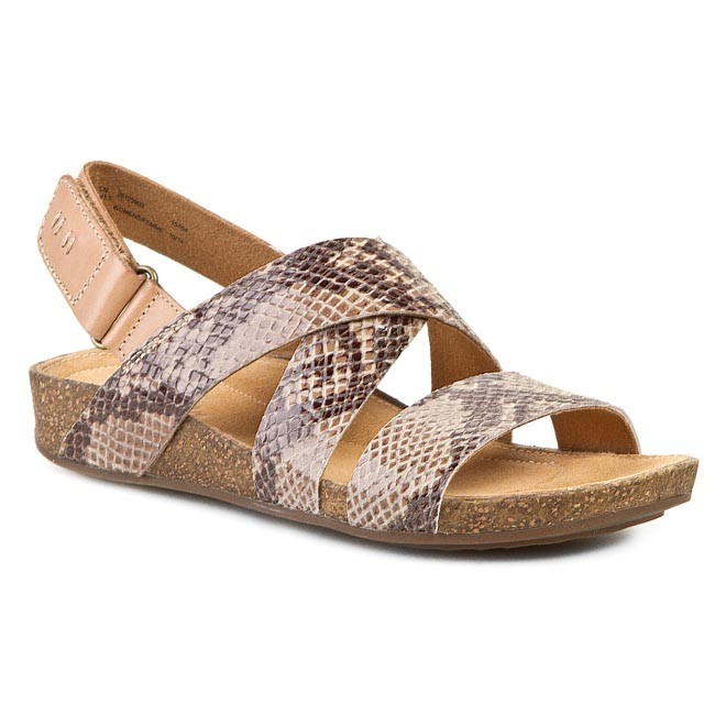 705ee57cc186fe Sandals CLARKS - Perri Dunes 261059034 Taupe Snake - Casual sandals ...