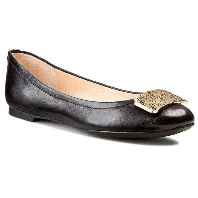 Flats GUESS - Quinna FL2QUN LEA02 BLACK - Ballerina shoes - Low ... 53a16dd249