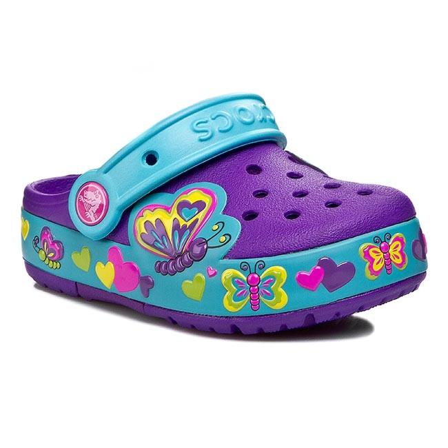 2ef1c3f10 Slides CROCS - Crocslights Butterfly Clog PS 15685 Neon Purple Aqua ...