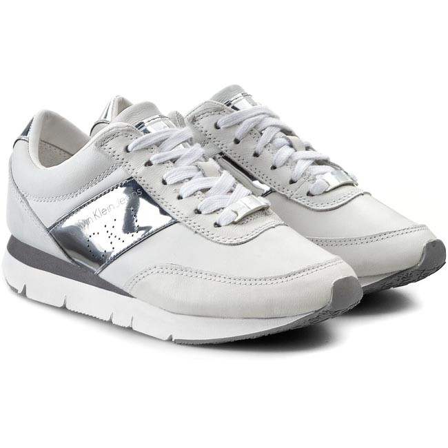 Sneakers CALVIN KLEIN JEANS - Tosca Brush Off Kid Rubber RE9087  White Silver - Sneakers - Low shoes - Women s shoes - www.efootwear.eu c757397749