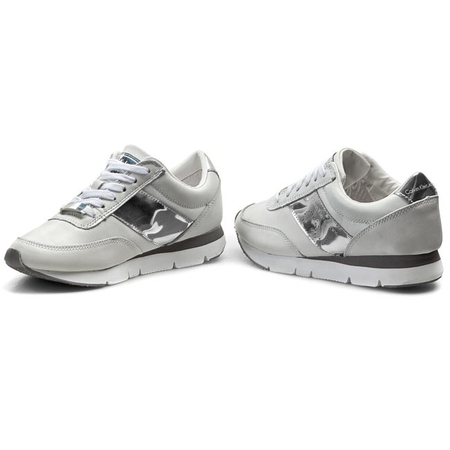 Sneakers CALVIN KLEIN JEANS - Tosca Brush Off Kid Rubber RE9087 White Silver 3fae15088c