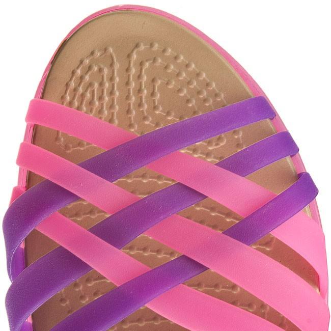 9ea2a21b06e9 Sandals CROCS - Huarache Flat Women 14121 Vibrant Pink Neon Purple - Casual  sandals - Sandals - Mules and sandals - Women s shoes - www.efootwear.eu