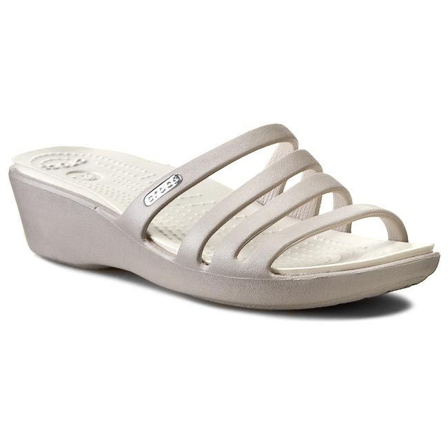 Slides CROCS - Rhonda Wedge Sandal W 14706 Platinum/Oyster