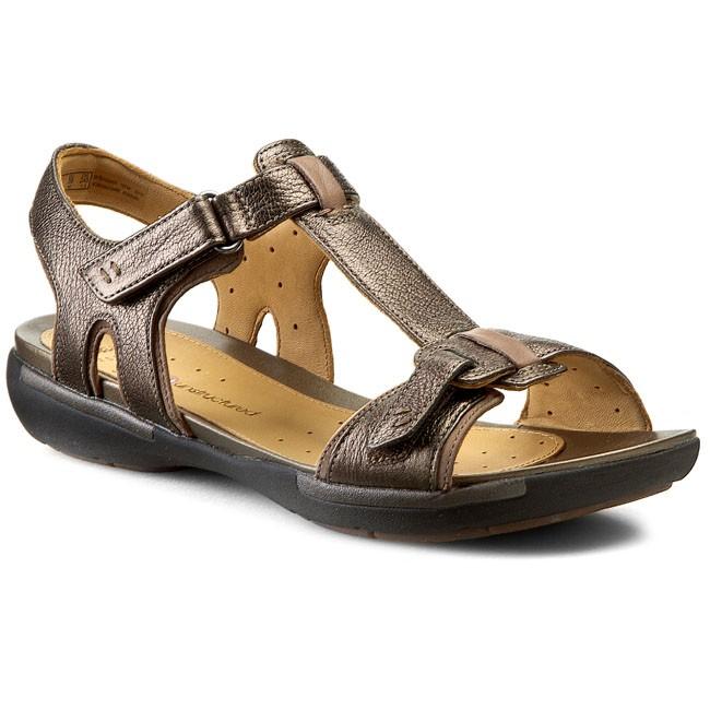 7365d6ff482 Sandals CLARKS - Un Voshell 261057884 Bronze Leather - Casual ...