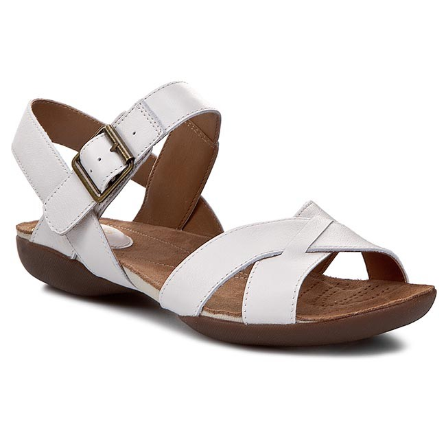 7ad6bc476 Sandals CLARKS - Raffi Flower 261065694 White Leather - Casual ...