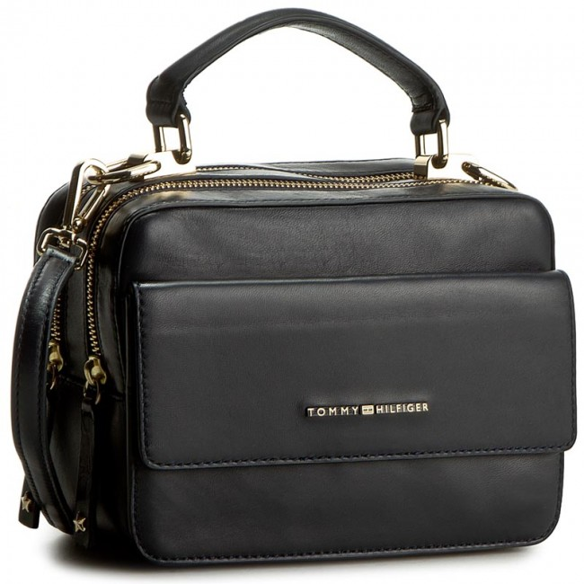 ed6cf297f0168 Handbag TOMMY HILFIGER - Leather Twist Mini Trunk AW0AW03703 001 ...