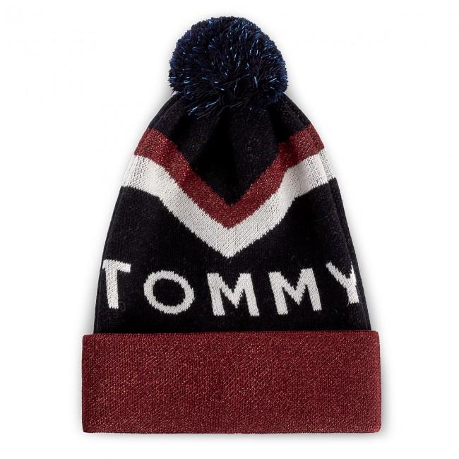 Women s Cap TOMMY HILFIGER. DENIM Tommy Chevron Pom Pom Beanie AW0AW04275  413 9f3921a1ed41