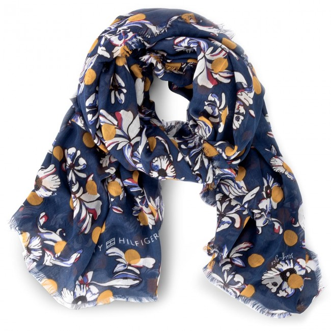 Womens Flowers Dots Scarf, Blue (Tommy Navy 413), (Manufacturer Size: One Size) Tommy Hilfiger