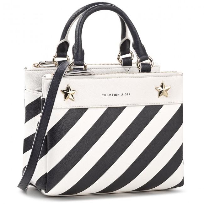 635c89009a0bf Handbag TOMMY HILFIGER - Cool Hardware Med Satchel Stripe AW0AW04946 ...