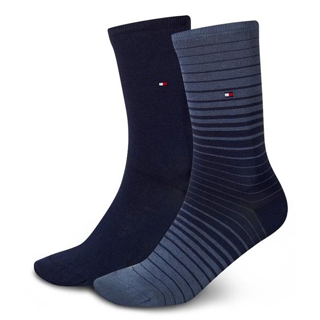 2 Pairs of Women's High Socks TOMMY HILFIGER - 453010001 Faded Denim 826