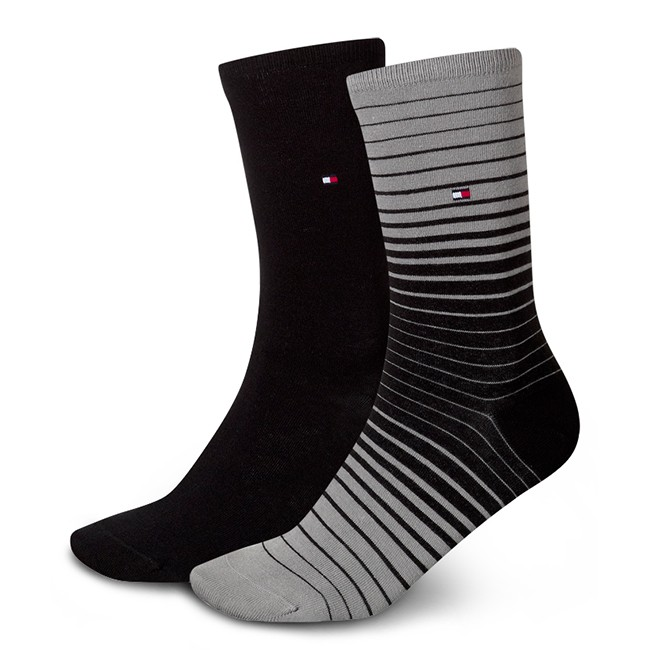 2 Pairs of Women's High Socks TOMMY HILFIGER - 453010001 Black 200