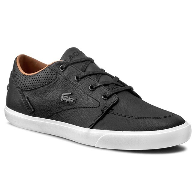 LACOSTE Bayliss Vulc Prm Dark Brown Leather Lace Up Casual Sneakers Men Shoes