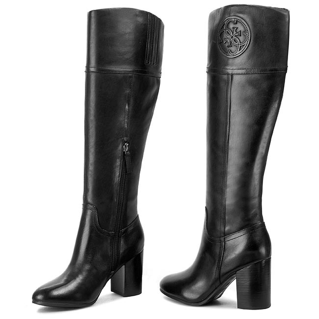knee high boots guess mabbel fl4mbb lea11 black