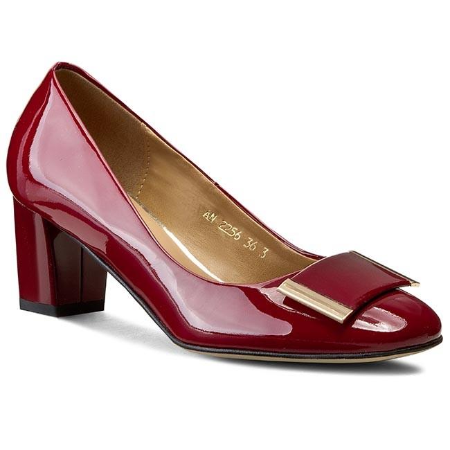 Shoes SAGAN - 2256  Bordowy Lakier Złoty