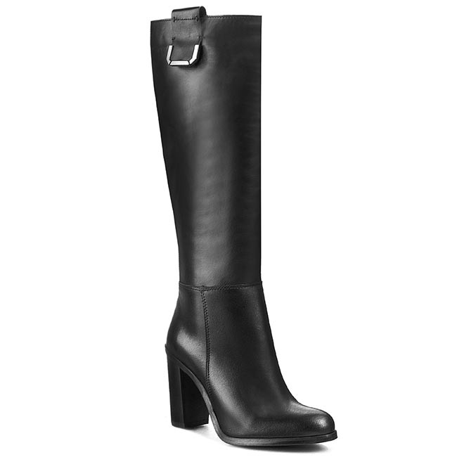 Knee High Boots CARINII - B2914  Nappa Czarna Mielczarek