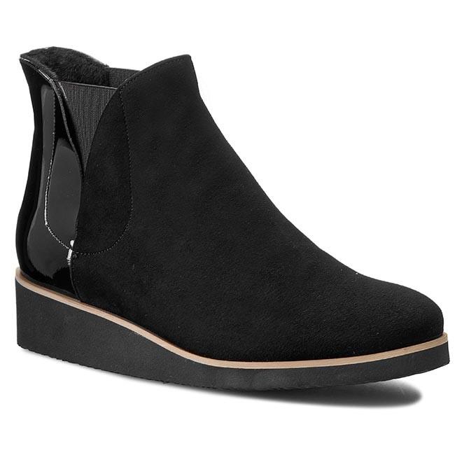 Boots SAGAN - 2594  Czarny Welur/Czarny Lakier