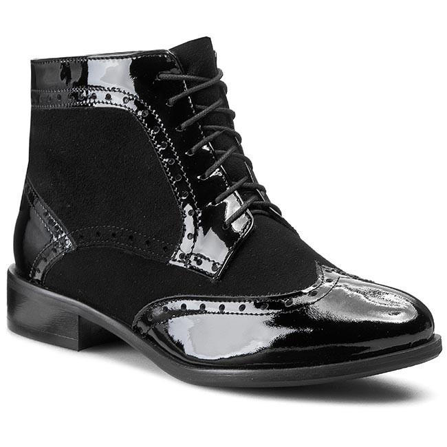 Boots SAGAN - 2605  Czarny Lakier/Czarny Welur