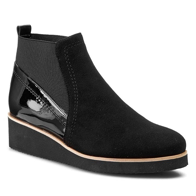 Boots SAGAN - 2611  Czarny Welur/Czarny Lakier