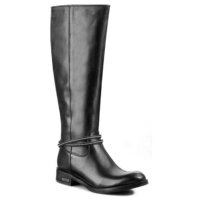 Knee High Boots CARINII - B2293 Crust Nero/Oc Wełna