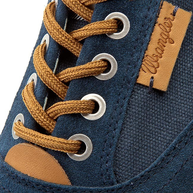 MENS WRANGLER ICON BOARD NAVY MEMORY FOAM LACE UP CANVAS SHOES