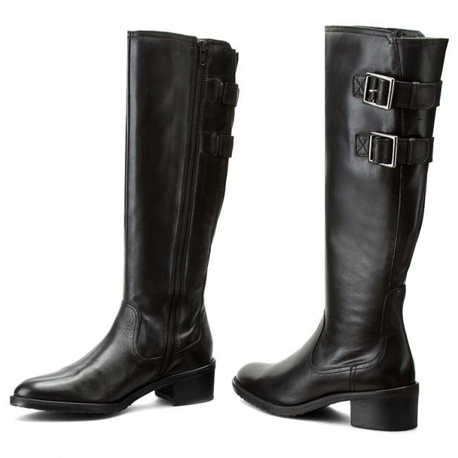 Knee High Boots CLARKS Valana Diem 261214364 Black Leather