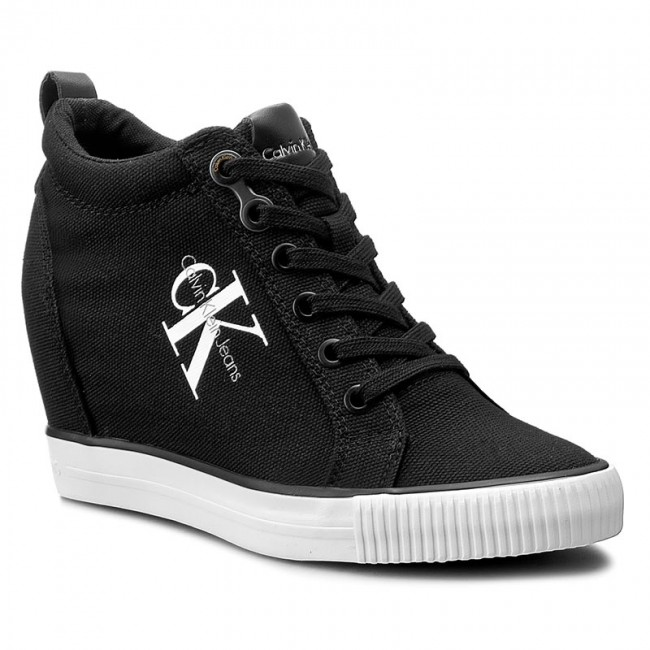 calvin klein jeans canvas wedge sneakers