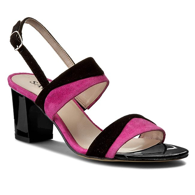 Sandals SAGAN - 2687 Czarny Welur/Różowy Welur