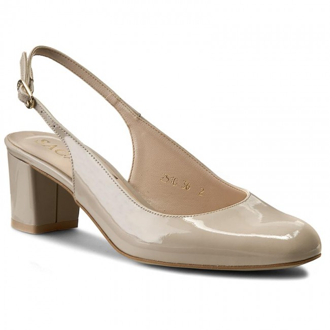 Sandals SAGAN - 2510 Kremowy Beż Lakier