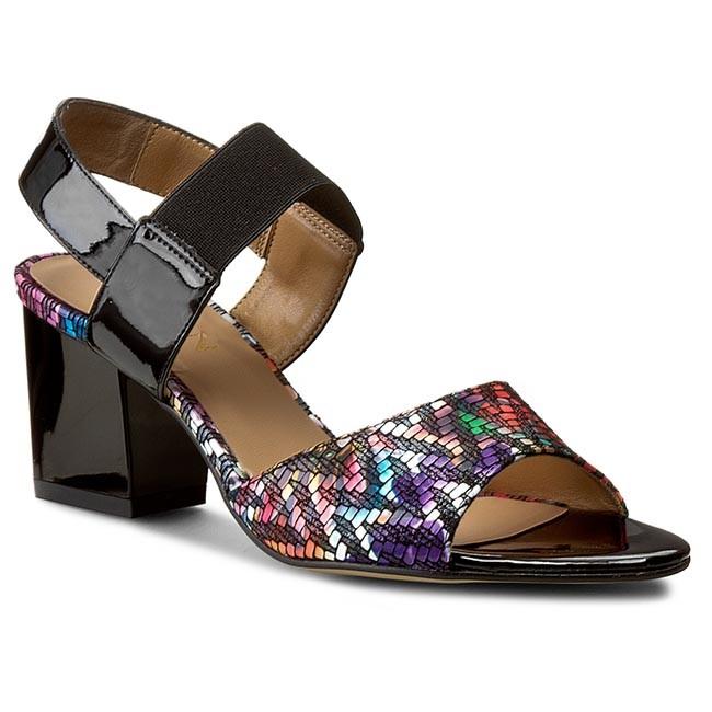Sandals SAGAN - 2704 Multic. Kwiaty/Czarny Lak