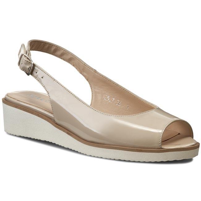 Sandals SAGAN - 2527 Kremowy Beż Lakier