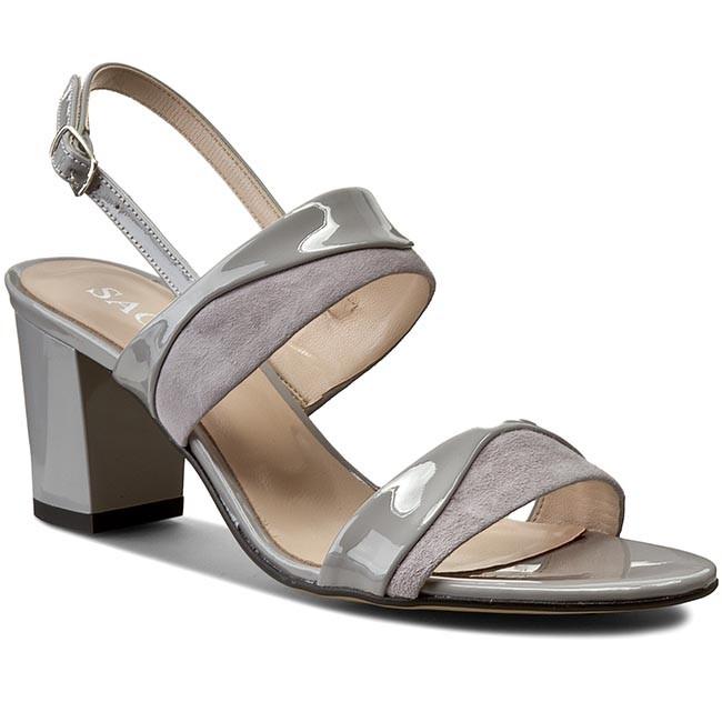 Sandals SAGAN - 2687 Fiołkowy Lakier/Szary Welur