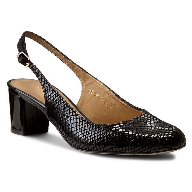 Sandals SAGAN - 2510 Czarny Lakier Jaszczurka