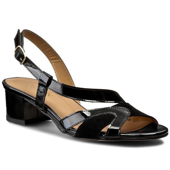 Sandals SAGAN - 2700 Czarny Lakier/Czarny Welur