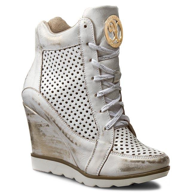 Sneakers ROBERTO - 419/D Biały/Przecierany Złoty