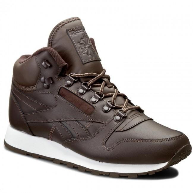 Shoes Reebok Cl Leather Mid Basic BD2538 Dark BrownWhiteTrekGrey