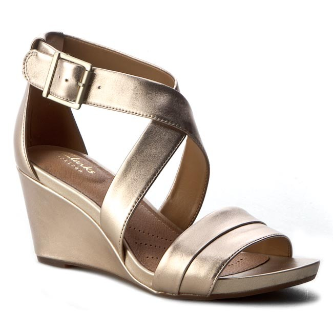 Clarks Acina Newport Leather Sandals In Gold Metallic Wide