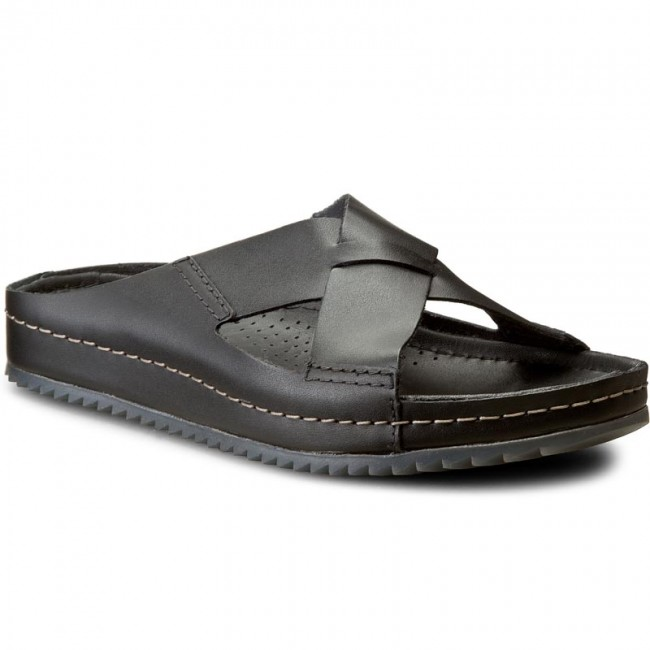 b58ada883fc440 Slides CLARKS - Netrix Jump 261128067 Black Leather - Clogs and mules -  Mules and sandals - Men's shoes - efootwear.eu