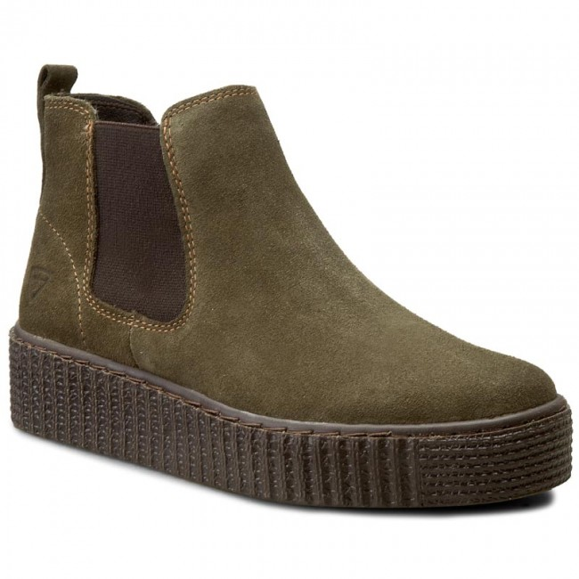 ankle boots tamaris 1 25412 37 olive suede 744 elastic