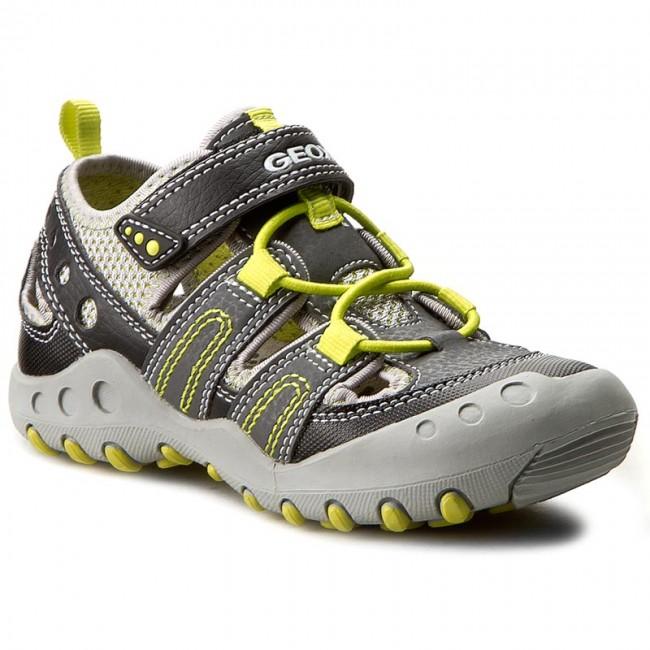 Shoes GEOX J Sand.Kyle A J72E1A 0CE14 C0666 SzaryJ.Zielony