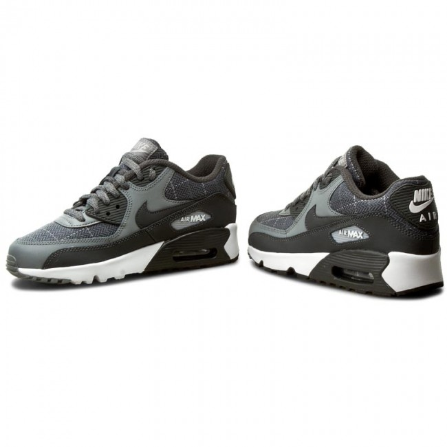 Nike Air Max 90 SE LTR GS 859560 001 Hvit, svart, grå  White, Black, Grey